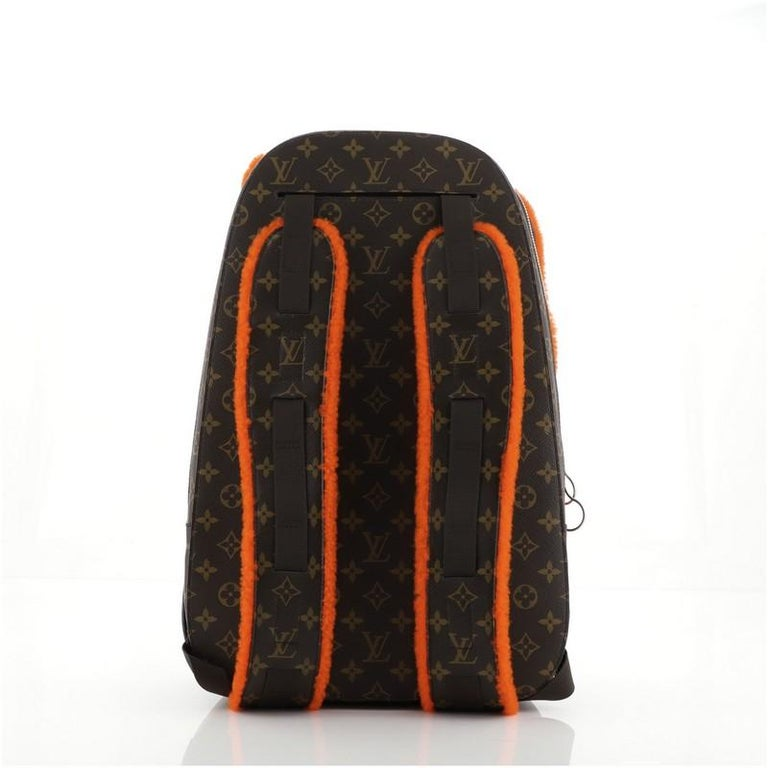 Louis Vuitton Marc Newson Backpack Shearling and Monogram Canvas In Good Condition For Sale In New York, NY