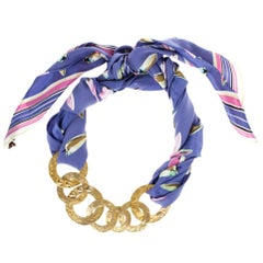 Louis Vuitton Martelé Gold-Tone Silk Necklace
