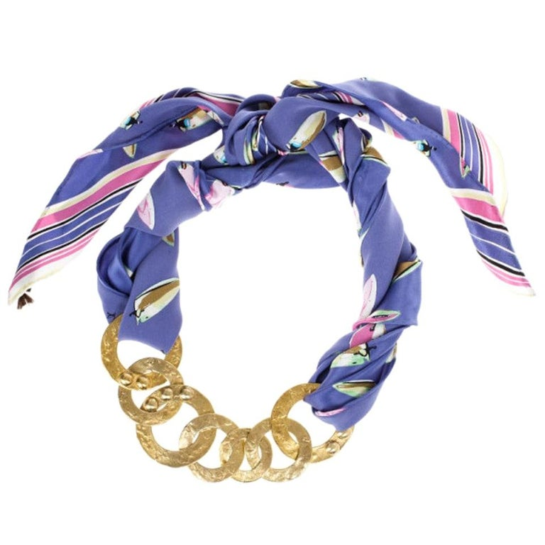 Louis Vuitton Martelé Gold-Tone Silk Necklace For Sale