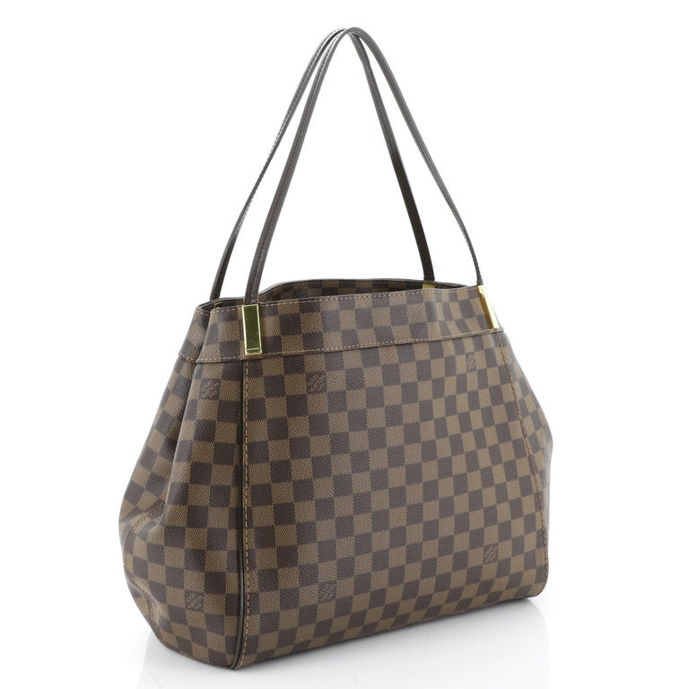 This Louis Vuitton Marylebone Handbag Damier GM, crafted from damier ebene coated canvas, features dual flat handles, gold bar accents, gusseted sides with snap closures, protective base studs, and gold-tone hardware. Its hook closure opens to a