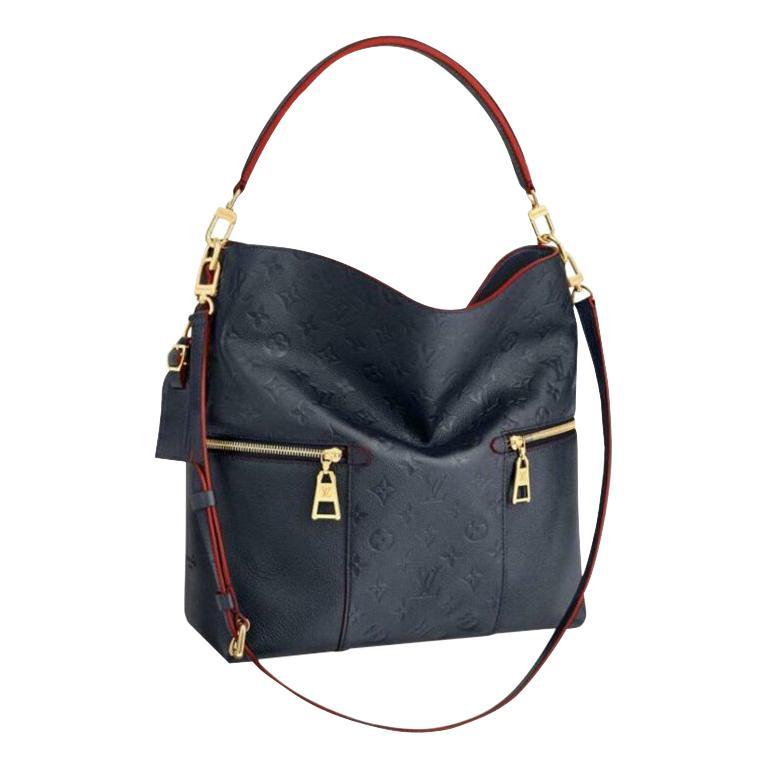 Louis Vuitton Melie Navy Leather Empreinte Hobo Bag ,Monogram Leather, In Box