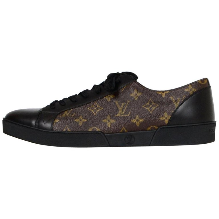 379956a5642 Louis Vuitton Men's New Black Leather/Monogram Match-Up Sneakers sz 12