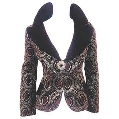 Louis Vuitton Metallic Black, Brown & Pewter Tone Brocade Jacket 42 EU