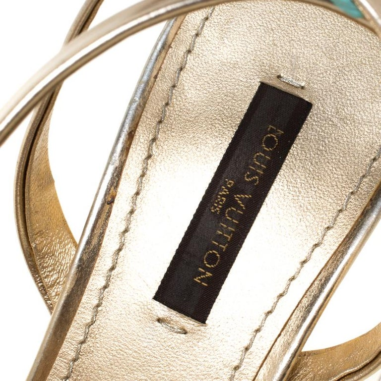 Louis Vuitton Metallic Gold Leather Classic Strappy Sandals Size 37 For Sale 1