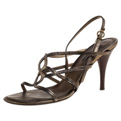 Louis Vuitton Metallic Gold Leather Strappy Sandals Size 37.5