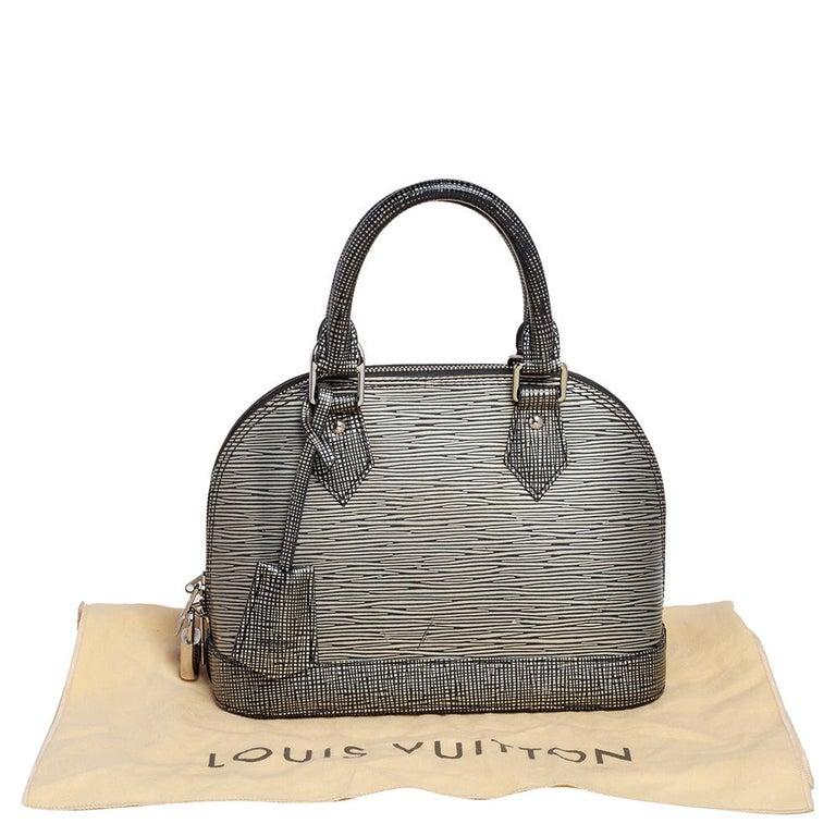 Louis Vuitton Metallic Silver Epi Leather Alma BB Bag For Sale 8