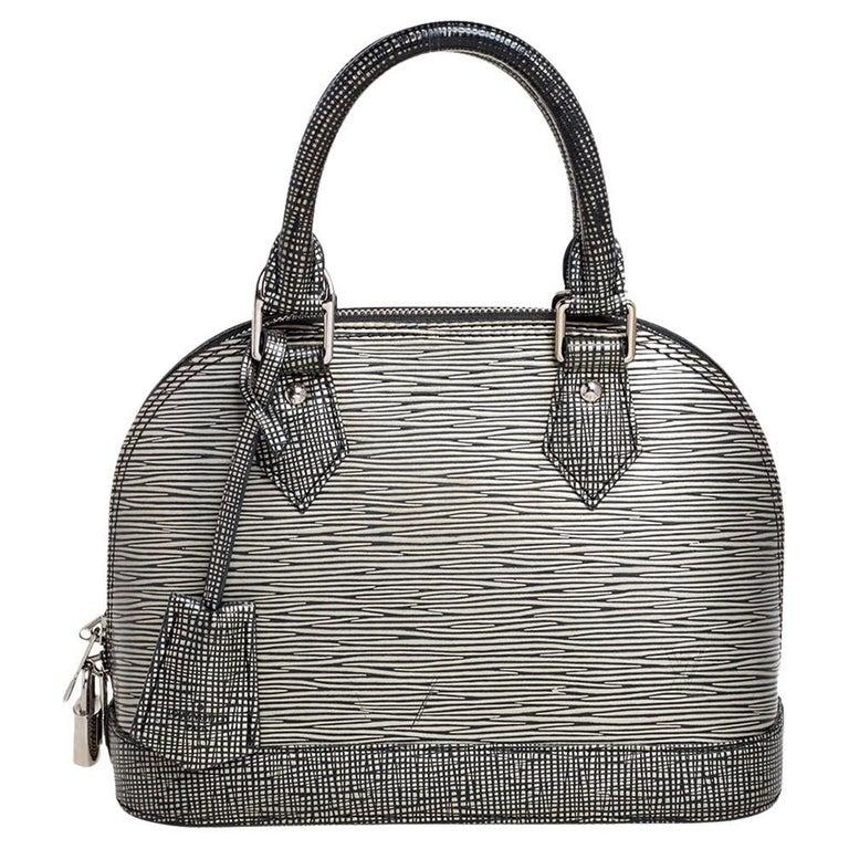 Louis Vuitton Metallic Silver Epi Leather Alma BB Bag For Sale