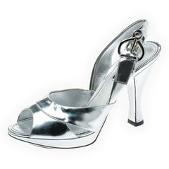 Louis Vuitton Metallic Silver Leather Peep Toe Slingback Sandals Size 37.5