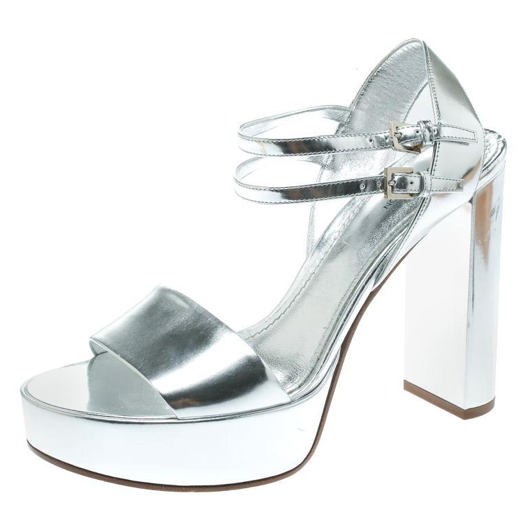 072b547eb3 Louis Vuitton Metallic Silver Patent Leather Showcase Platform Sandals Size  39 For Sale