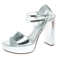 Louis Vuitton Metallic Silver Patent Leather Showcase Platform Sandals Size 39