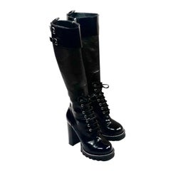 LOUIS VUITTON Military Black Leather Knee- High Heel Boots Size 38