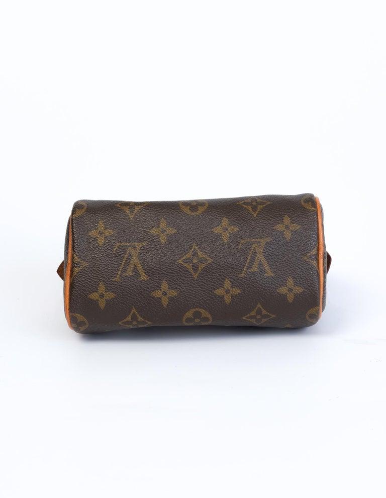 Brown Louis Vuitton Monogram Bandouliere Nano Speedy Mini Handbag For Sale