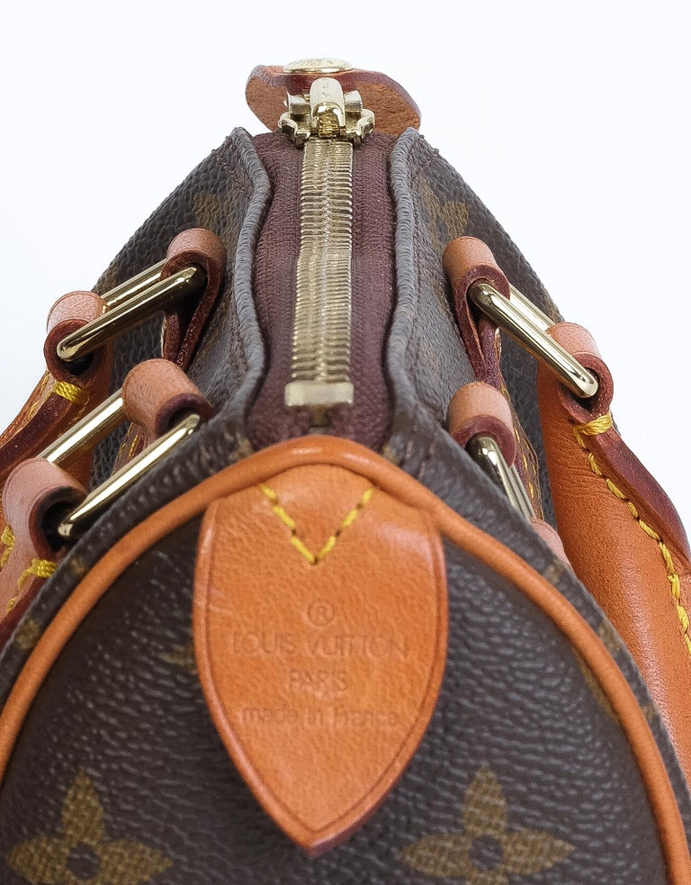 Women's or Men's Louis Vuitton Monogram Bandouliere Nano Speedy Mini Handbag For Sale