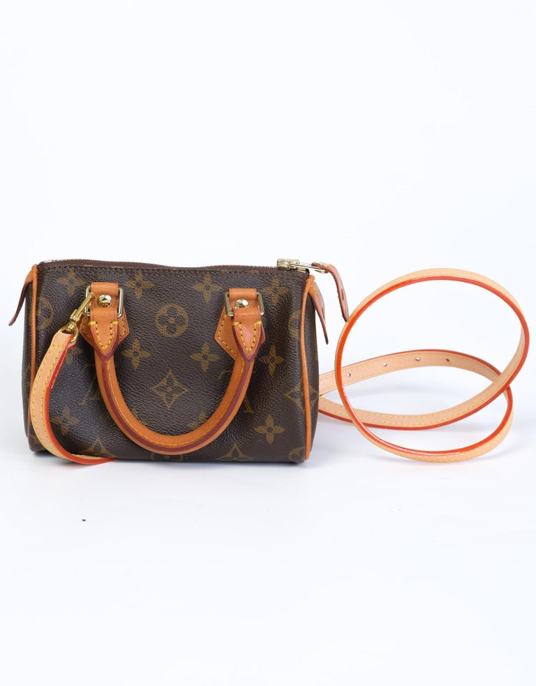 Louis Vuitton Monogram Bandouliere Nano Speedy Mini Handbag For Sale 2