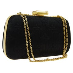 Louis Vuitton Monogram Black Satin 2in1 Evening Clutch Flap Chain Shoulder Bag