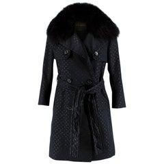 Louis Vuitton Monogram Black Trench Coat with Fox Fur Collar 36