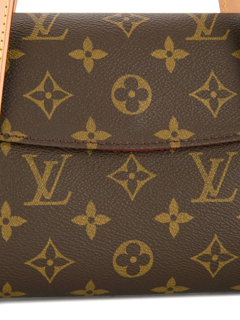 Louis Vuitton Monogram Brown Evening Top Handle Satchel Flap Bag In Excellent Condition For Sale In Chicago, IL