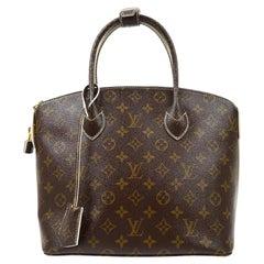 Louis Vuitton Monogram Brown Gold Small Evening Carryall Top Handle Satchel Bag