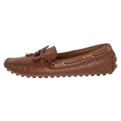 Louis Vuitton Monogram Brown Leather Gloria Bow Slip On Loafers 38