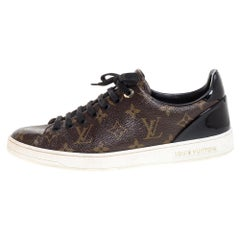 Louis Vuitton Monogram Canvas and Black Patent Leather Frontrow Low Top Sneakers