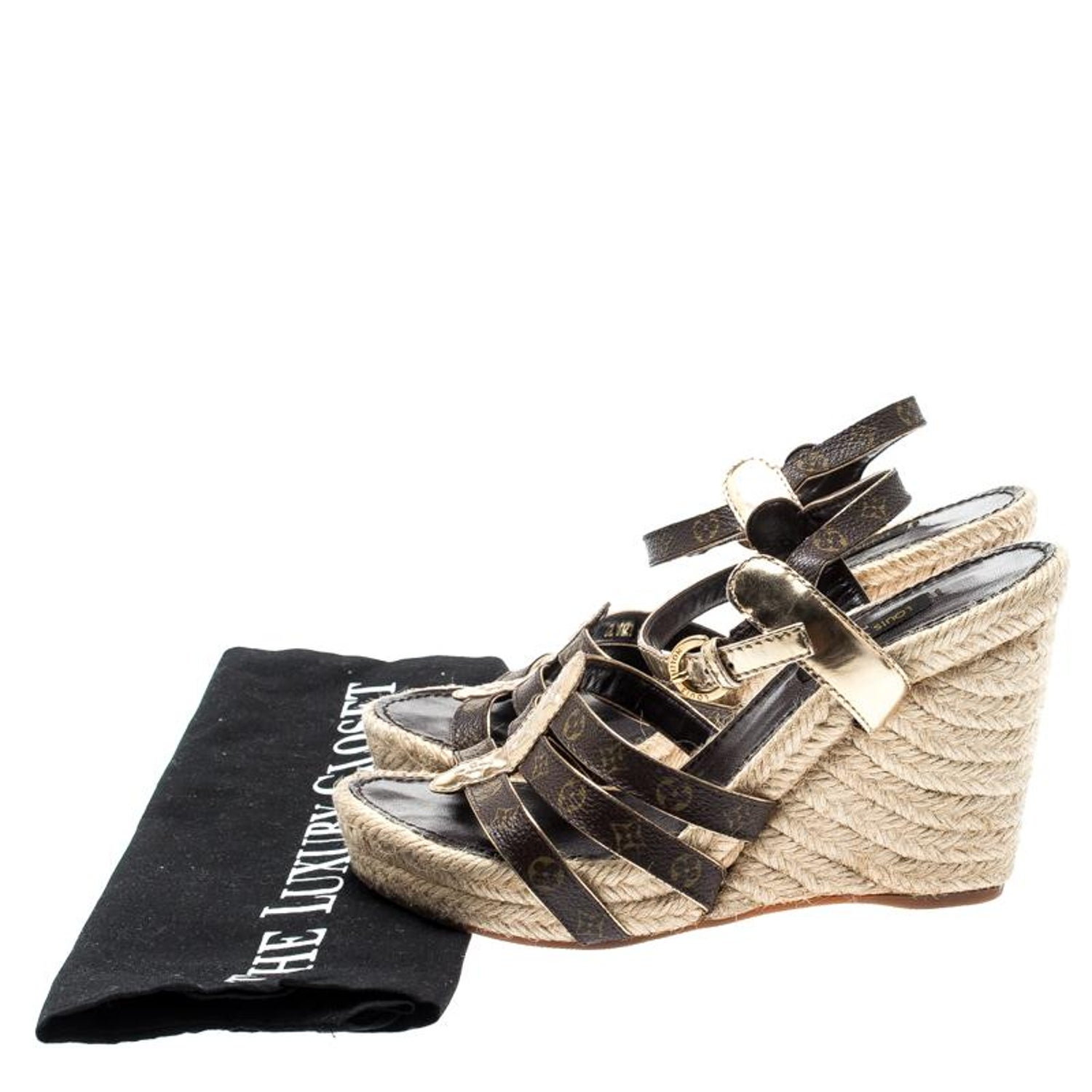 d9584db5322c4 Louis Vuitton Monogram Canvas and Gold Strappy Espadrille Wedge Sandals Size  36 For Sale at 1stdibs