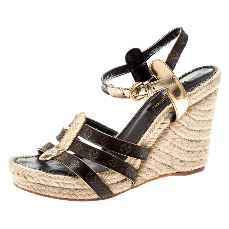 40f282592d4ce Louis Vuitton Monogram Canvas & Gold Strappy Espadrille Wedge Sandals Size  36 For Sale