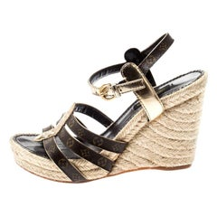 Louis Vuitton Monogram Canvas and Gold Leather Strappy Espadrille Wedge Sandals