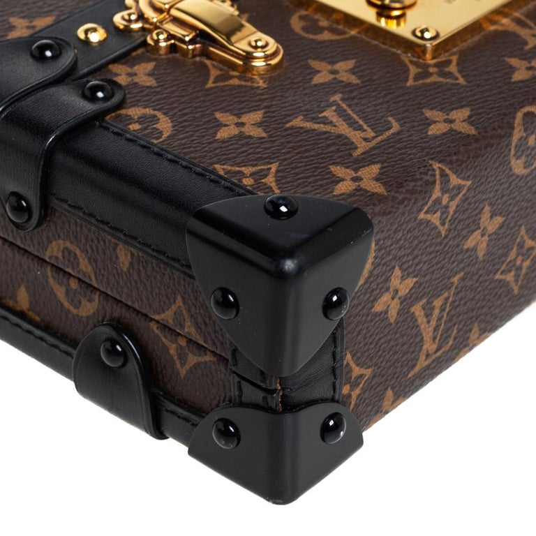 Louis Vuitton Monogram Canvas and Leather Petite Malle Bag For Sale 5
