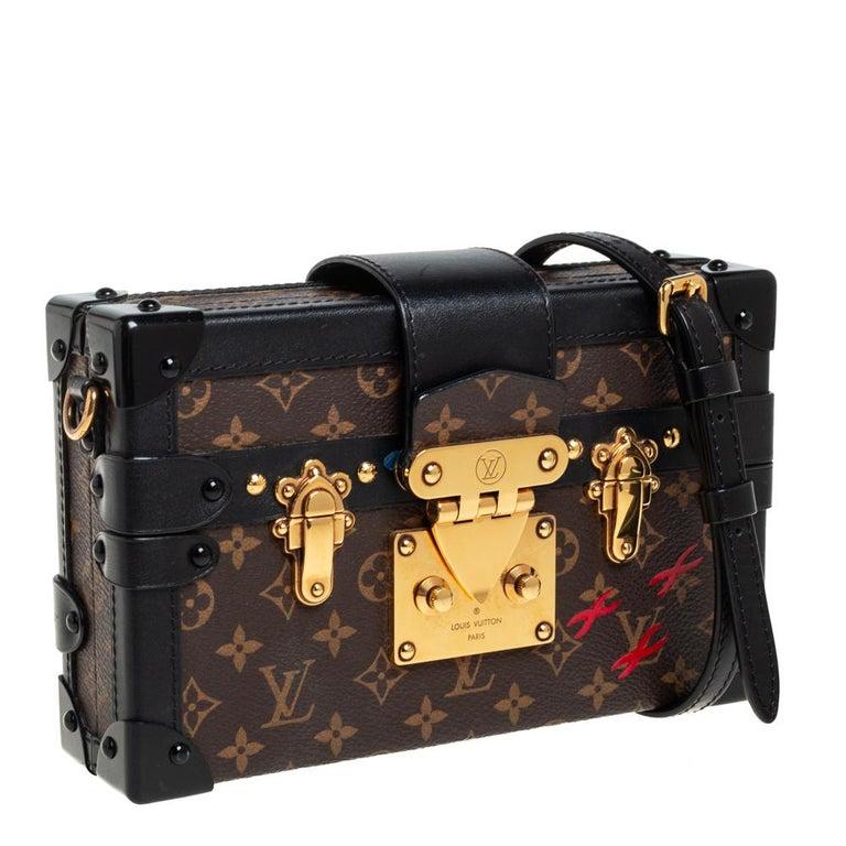 Black Louis Vuitton Monogram Canvas and Leather Petite Malle Bag For Sale