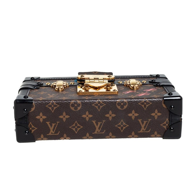 Women's Louis Vuitton Monogram Canvas and Leather Petite Malle Bag For Sale
