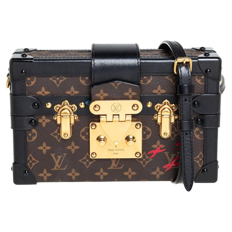 Louis Vuitton Monogram Canvas and Leather Petite Malle Bag For Sale