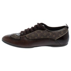 Louis Vuitton Monogram Canvas and Patent Leather Lace Up Sneakers Size 39