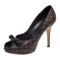 Louis Vuitton Monogram Canvas And Patent Leather Peep Toe Pumps Size 37