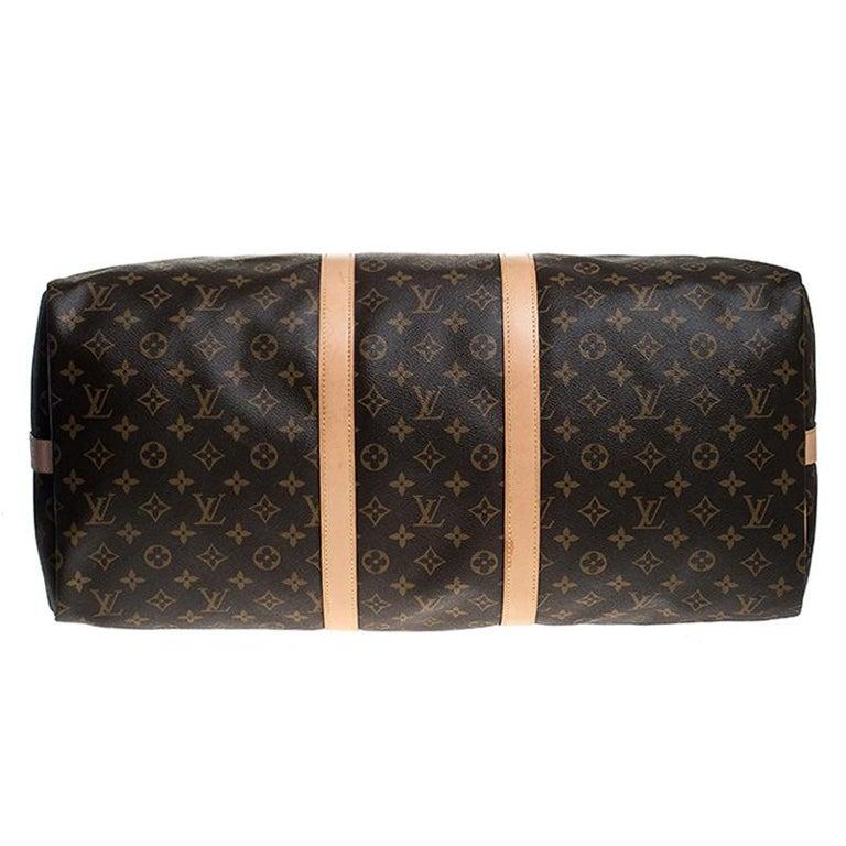 Women's Louis Vuitton Monogram Canvas Keepall 55 Bag For Sale