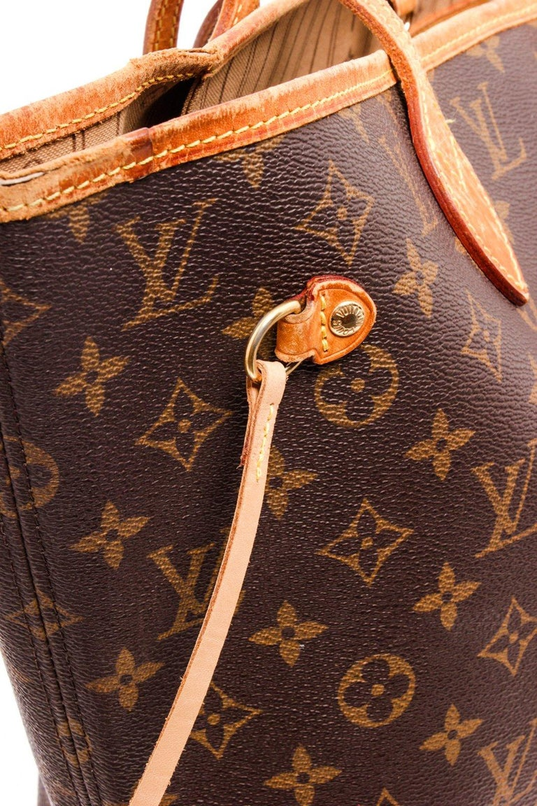 Brown Louis Vuitton Monogram Canvas Leather Neverfull MM Tote Bag For Sale