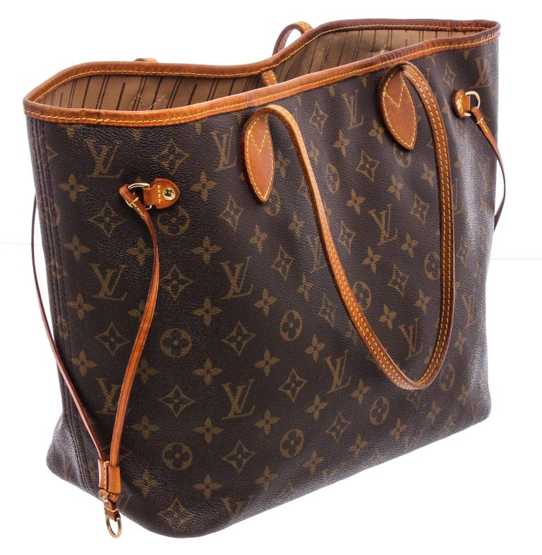 Louis Vuitton Monogram Canvas Leather Neverfull MM Tote Bag For Sale 2