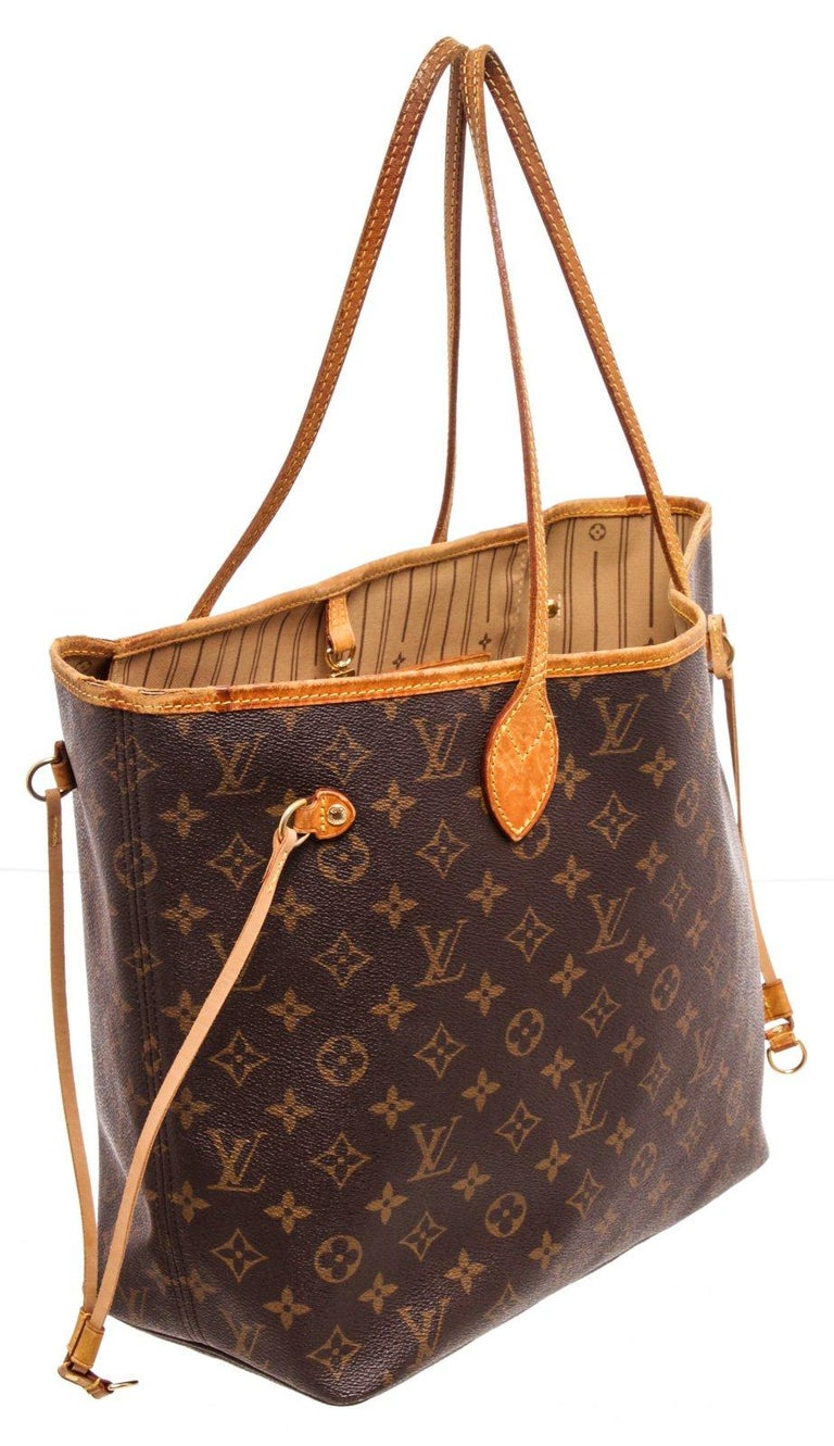 Louis Vuitton Monogram Canvas Leather Neverfull MM Tote Bag For Sale 3