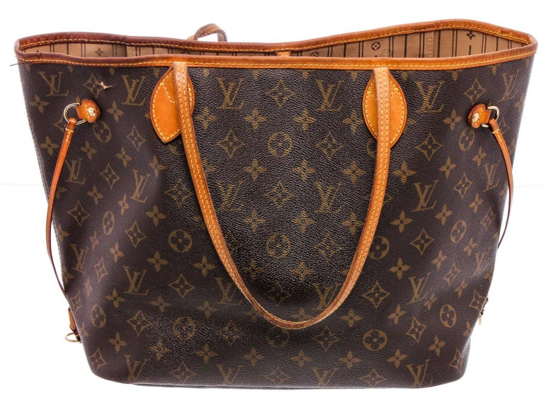 Louis Vuitton Monogram Canvas Leather Neverfull MM Tote Bag For Sale 4