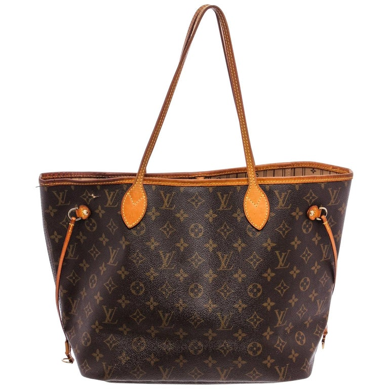 Louis Vuitton Monogram Canvas Leather Neverfull MM Tote Bag For Sale