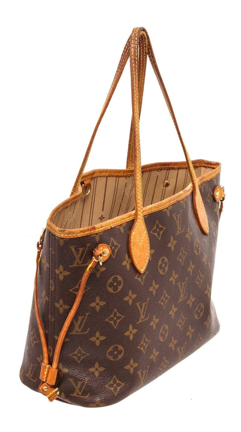 Louis Vuitton Monogram Canvas Leather Neverfull PM Tote Bag For Sale 1