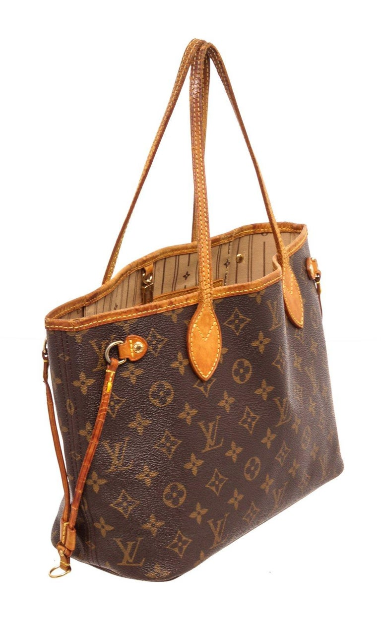 Louis Vuitton Monogram Canvas Leather Neverfull PM Tote Bag For Sale 2