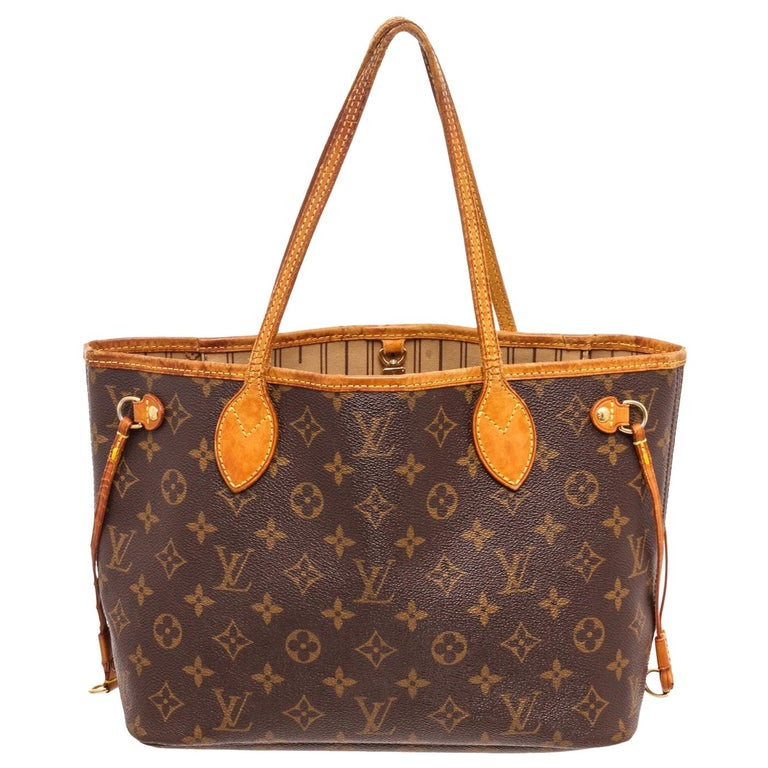 Louis Vuitton Monogram Canvas Leather Neverfull PM Tote Bag For Sale