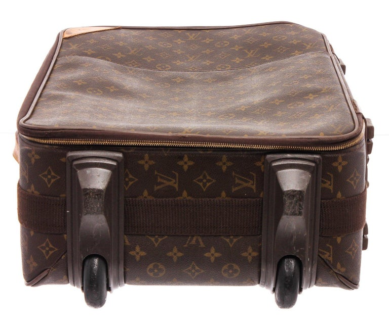 Louis Vuitton Monogram Canvas Leather Pegase 55 cm Luggage In Good Condition For Sale In Irvine, CA
