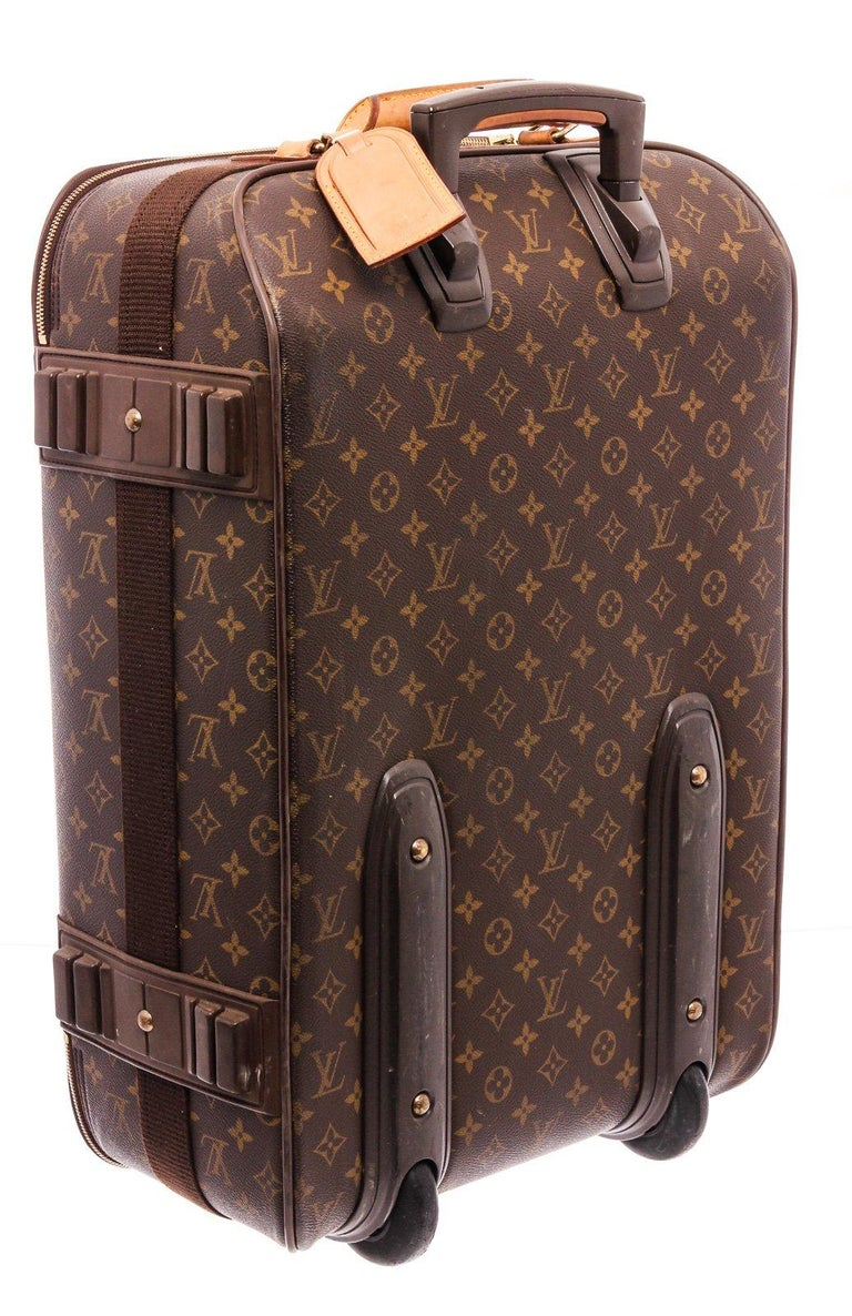 Louis Vuitton Monogram Canvas Leather Pegase 55 cm Luggage For Sale 2