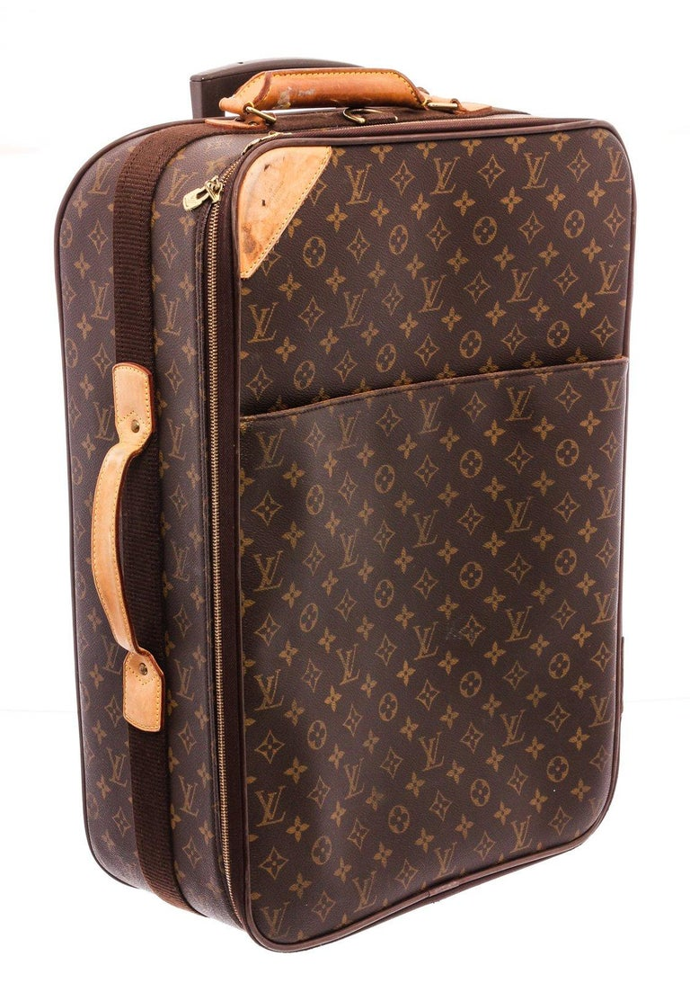 Louis Vuitton Monogram Canvas Leather Pegase 55 cm Luggage For Sale 4