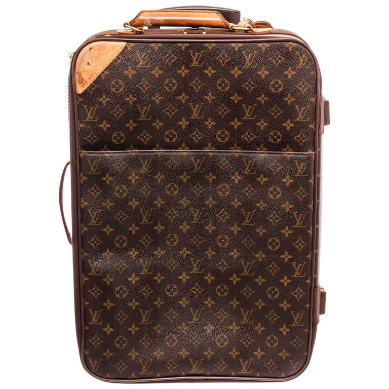 Louis Vuitton Monogram Canvas Leather Pegase 55 cm Luggage For Sale