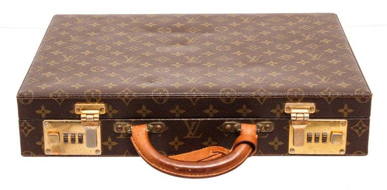 Women's or Men's Louis Vuitton Monogram Canvas Leather President Briefcase For Sale