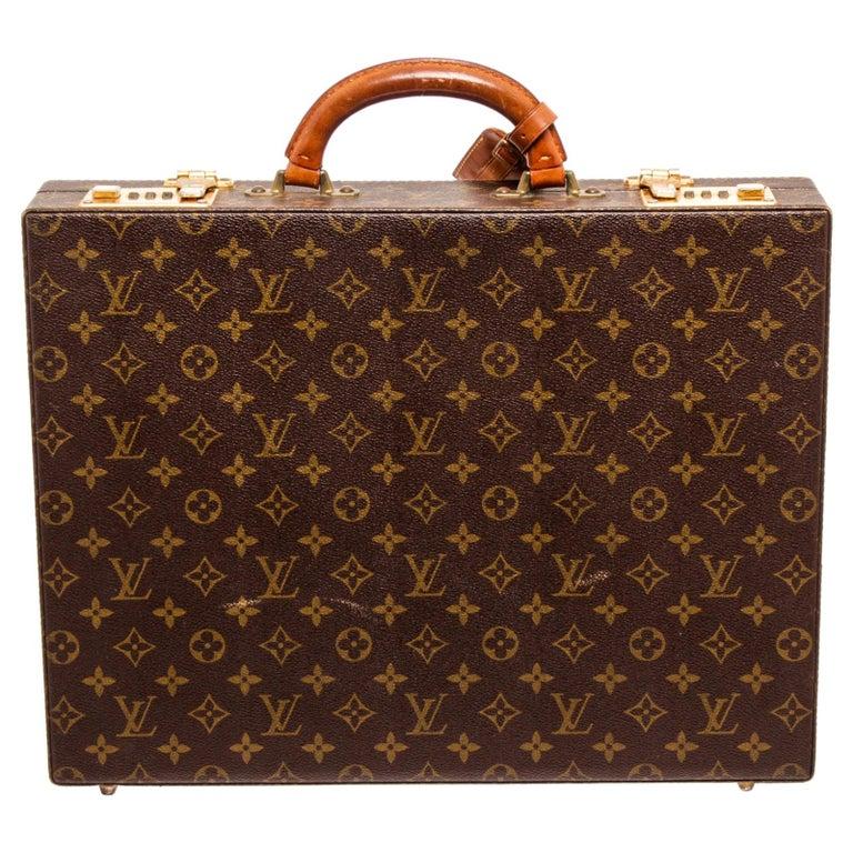 Louis Vuitton Monogram Canvas Leather President Briefcase For Sale