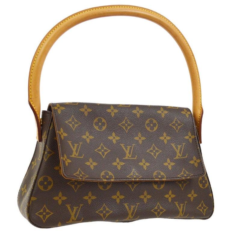 Louis Vuitton Monogram Canvas Leather Small Top Handle Satchel Carryall Flap Bag For Sale