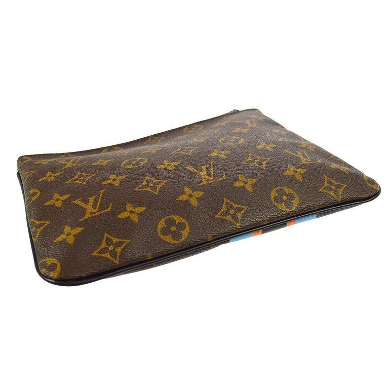 Black Louis Vuitton Monogram Canvas Leather Stripe Evening Pouch Clutch Bag For Sale